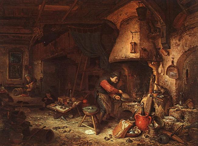 L'alchimiste de Adriaen von Ostade (1610-1685), 1661