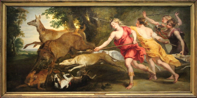 Diane chasseresse et ses nymphes, œuvre de Pierre Paul Rubens, collection privée, Madrid.
