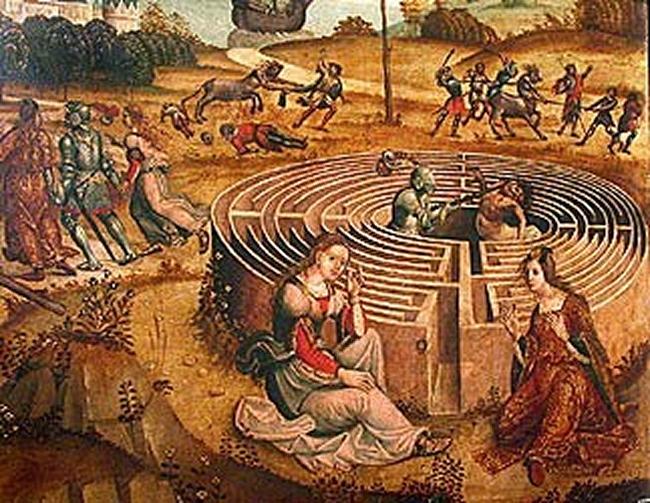 Le combat de Thésée et du Minotaure - Maître des Cassoni Campana